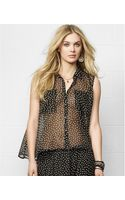 Denim & Supply Ralph Lauren Sleeveless Dotprint Sheer Top - Lyst