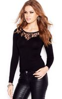Guess Long-sleeve Lace-inset Sweater - Lyst
