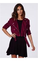 Missguided Zazula Faux Suede Biker Jacket Oxblood - Lyst