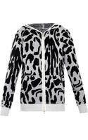 Baja East Leopard Hooded Zip-up Sweater - Lyst