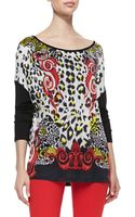 Versace Leopard Scroll Printed Top - Lyst