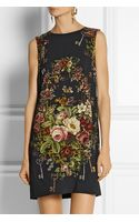 Dolce & Gabbana Floralprint Crepe Mini Dress - Lyst