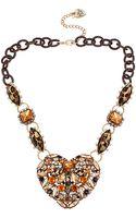 Betsey Johnson Leopard Stone Heart Pendant Necklace - Lyst