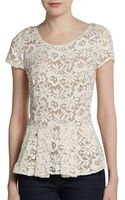 Madison Marcus Lace Peplum Top - Lyst