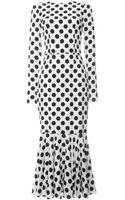 Dolce & Gabbana Polka Dot Cady Long Sleeve Dress - Lyst