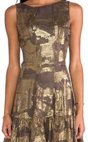 Anna Sui Klimt Print Burnout Metallic Stripe Velvet and Metallic Chiffon Clip Jacquard Tank Dress in Metallic Gold - Lyst