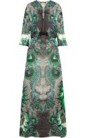 Roberto Cavalli Satin-paneled Printed Silk-chiffon Maxi Dress - Lyst