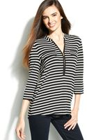 Calvin Klein Rolltab Striped Zipfront Top - Lyst
