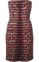 Roberto Cavalli Leopard Print Striped Dress - Lyst