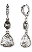 Givenchy Silvertone Crystal Double Drop Earrings - Lyst