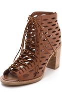 Jeffrey Campbell Cors Laser Cut Laced Sandals Tan - Lyst