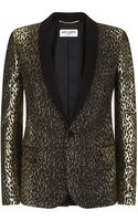 Saint Laurent Jacquard Leopard Jacket - Lyst