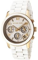 Michael Kors Womens Chronograph White Polyurethaneyellow Gold Tone Mkors Watch - Lyst