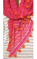 Marc By Marc Jacobs Pom Pom Stripe Snake Print Scarf Punch Pink Multi - Lyst