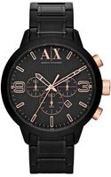 Armani Exchange Ax Armani Exchange Watch Mens Chronograph Black Ionplated Stainless Steel Bracelet 49mm - Lyst