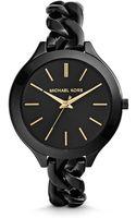 Michael Kors Slim Runway Shiny Black Chainlink Watch - Lyst