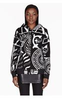Ktz Black and White Printed Hooded Sweater - Lyst