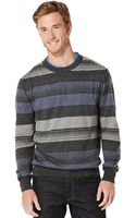 Perry Ellis Long Sleeve Stripe Sweater - Lyst