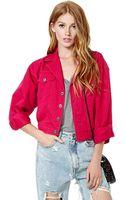 Nasty Gal Vintage Think Pink Denim Jacket - Lyst