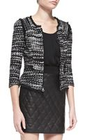 Milly Tweed Zipfront Jacket with Fringe Trim - Lyst