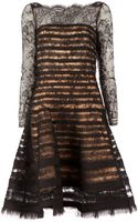 Oscar de la Renta Flared Floral Lace Dress - Lyst
