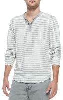 James Perse Striped Long Sleeve Henley - Lyst
