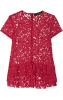 Thakoon Embroidered Cotton-blend Lace Peplum Top - Lyst