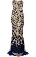 Marchesa Embellished Silk Strapless Fishtail Gown - Lyst