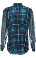 Equipment Long Sleeve Silk Plaid Blouse - Lyst
