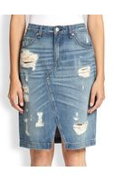 Rag & Bone Distressed Denim Pencil Skirt - Lyst
