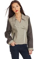 Eileen Fisher Petite Colorblocked Moto Jacket - Lyst