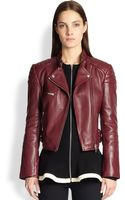 McQ by Alexander McQueen Cropped Leather Motorcycle Jacket - Lyst