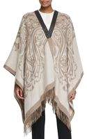 Etro Cashmere Poncho with Leather Trim - Lyst