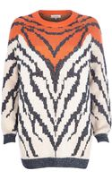 River Island Orange Metallic Animal Knit Jumper - Lyst