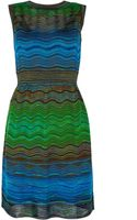 M Missoni Wave Knit Waisted Dress - Lyst