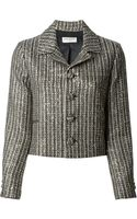 Saint Laurent Cropped Tweed Jacket - Lyst