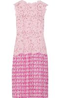 Oscar de la Renta Lace and Tweed Dress - Lyst