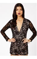Missguided Andreia Lace Plunge Playsuit in Black - Lyst