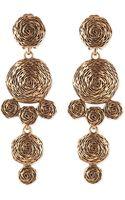 Oscar de la Renta Golden Swirl Drop Clip-on Earrings - Lyst
