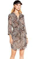 Vince Camuto Leopard Print Tiewaist Dress - Lyst