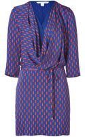 Diane von Furstenberg Blue and Orange Printed Rachel Dress - Lyst