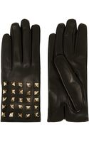Valentino Black Studded Leather Gloves - Lyst