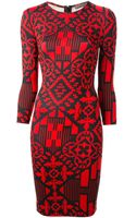 Alexander McQueen Fitted Geometric Print Dress - Lyst