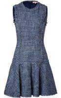 Michael Kors Tweed Fringed Dress - Lyst