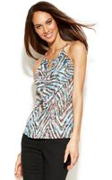 Inc International Concepts Petite Ruffled Animalprint Halter Top - Lyst