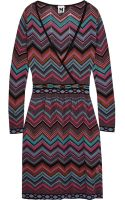M Missoni Wrap-effect Chevron-knit Dress - Lyst