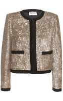 Saint Laurent Bead and Sequinembellished Crepe Jacket - Lyst
