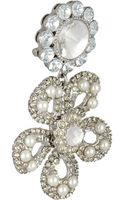 Miu Miu Silverplated Swarovski Pearl and Crystal Clip Earrings - Lyst