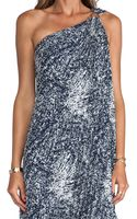 Halston Heritage One Shoulder Printed Gown in Navy - Lyst