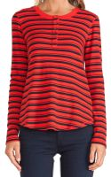 Splendid Navy Stripe Thermal Henley - Lyst
